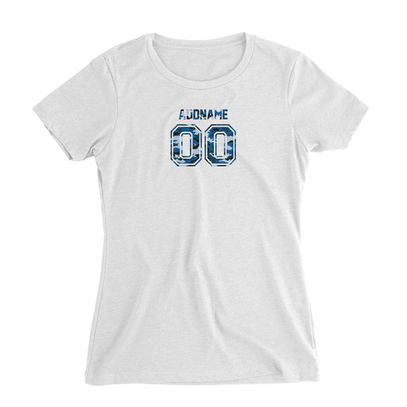 Custom Adults Jersey Blue Camo With Name and Number Women's Slim Fit T-Shirt