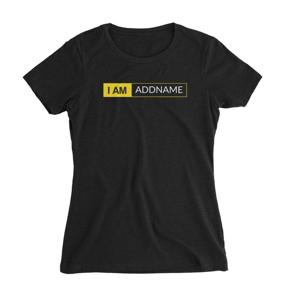 I AM Addname in Yellow Box Women's Slim Fit T-Shirt Basic Nikon Matching Family Personalizable Designs
