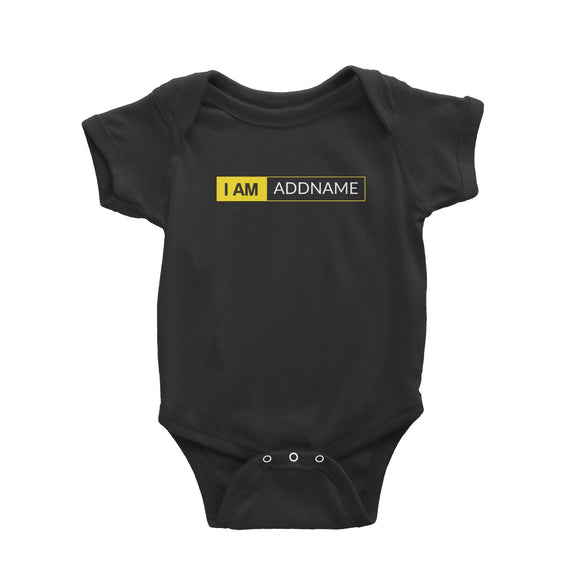 I AM Addname in Yellow Box Baby Romper Basic Nikon Matching Family Personalizable Designs