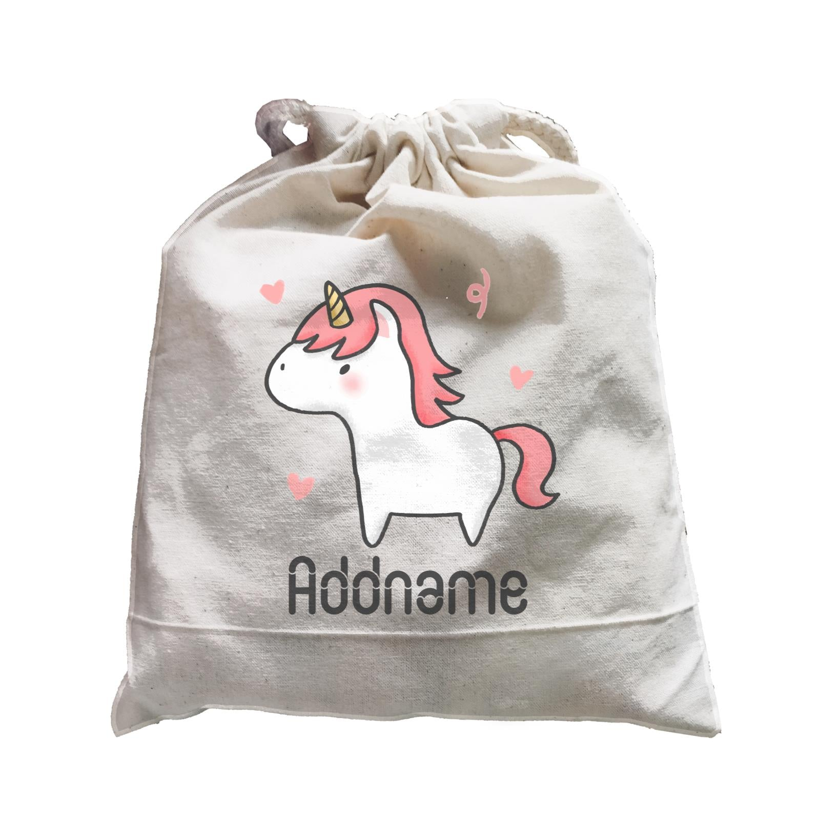 Cute Hand Drawn Style Unicorn Addname Satchel