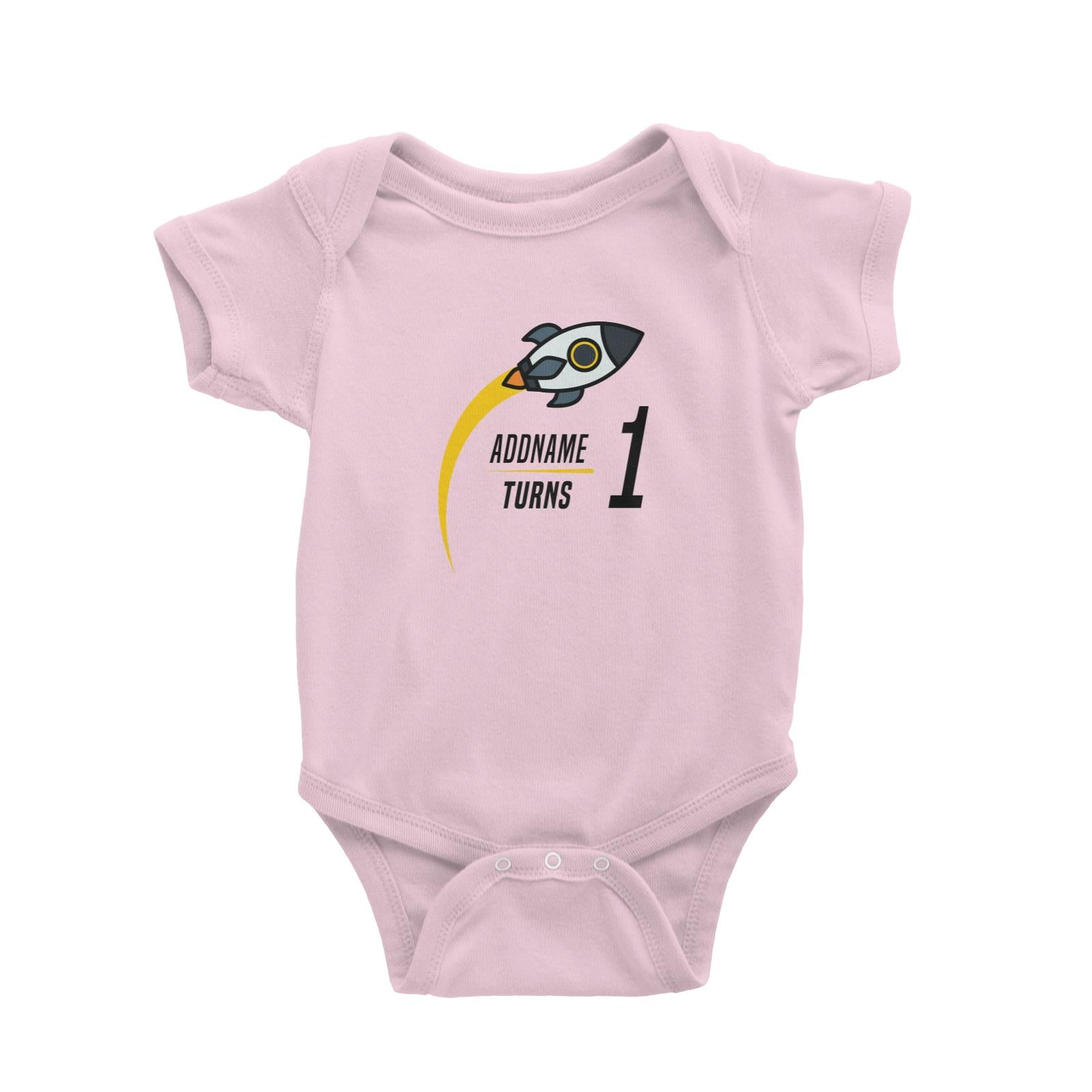Birthday Flying Rocket To Galaxy Addname Turn 1 Baby Romper