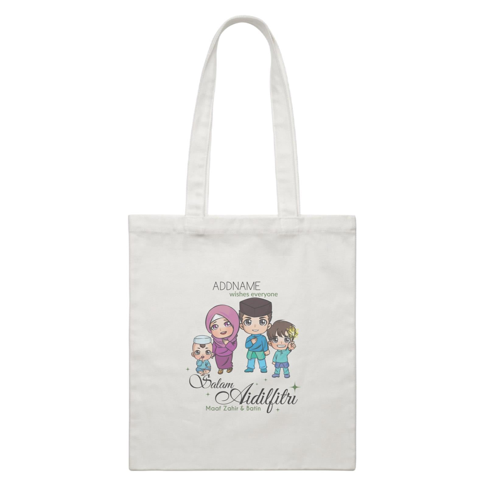 Raya Chibi Family Boy And Baby Boy Addname Wishes Everyone Salam Aidilfitri Maaf Zahir & Batin White Canvas Bag