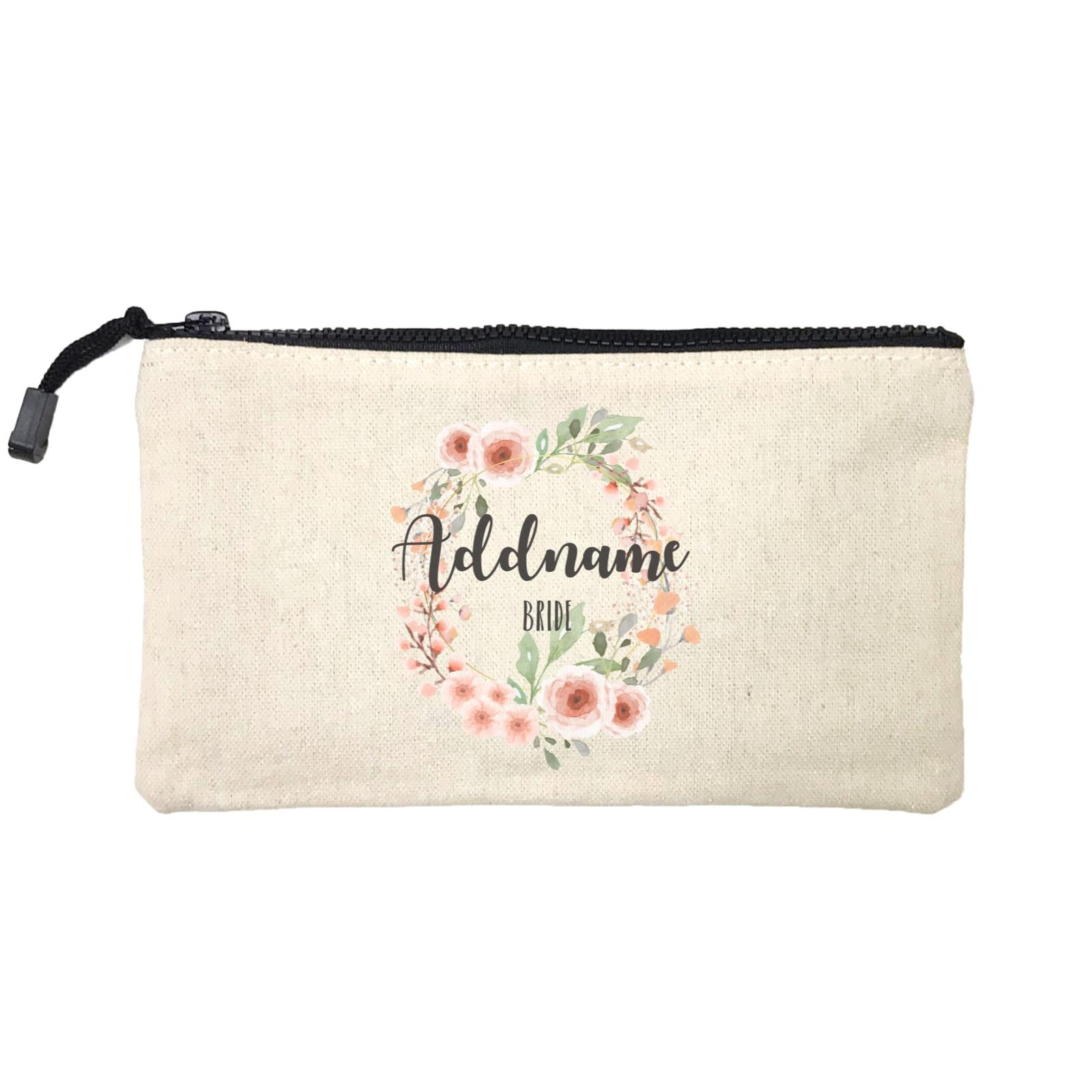 Bridesmaid Floral Sweet 2 Watercolour Flower Wreath Bride Addname Mini Accessories Stationery Pouch
