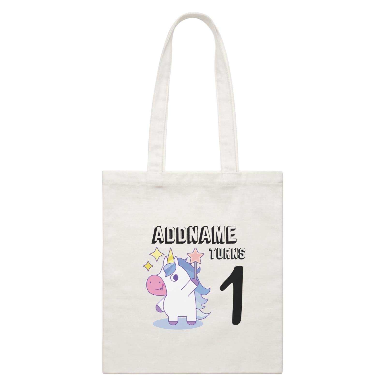 Birthday Unicorn Boy With Magic Wand Addname Turns 1 White Canvas Bag
