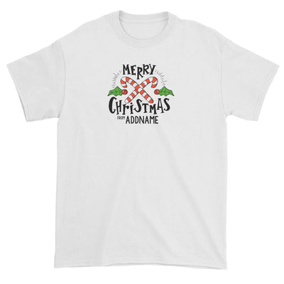 Merry Chrismas with Holly and Candy Cane Greeting Addname Unisex T-Shirt Christmas Matching Family Personalizable Designs Lettering