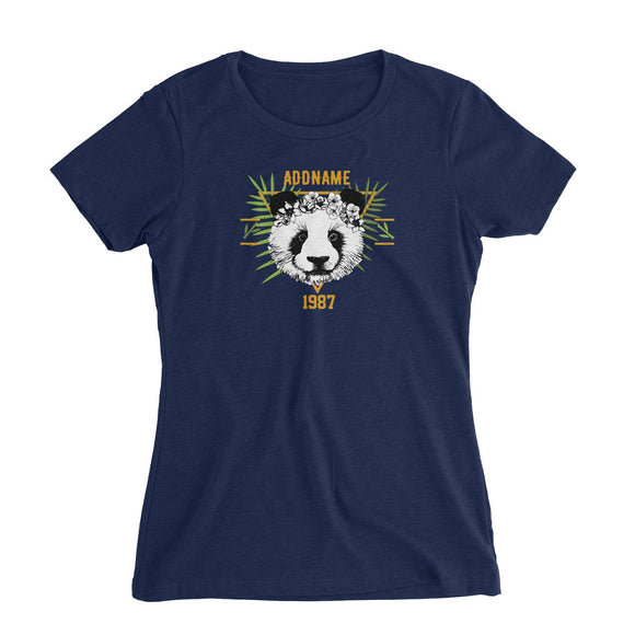 Jersey Panda With Flower Personalizable with Name and Year Women's Slim Fit T-Shirt