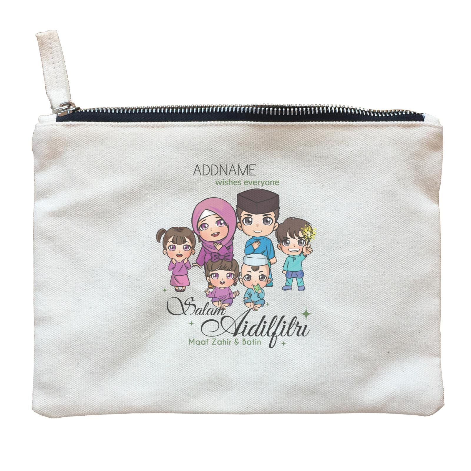 Raya Chibi Family Group Addname Wishes Everyone Salam Aidilfitri Maaf Zahir & Batin Zipper Pouch