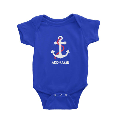 Sailor Anchor Red Addname Baby Romper  Matching Family Personalizable Designs