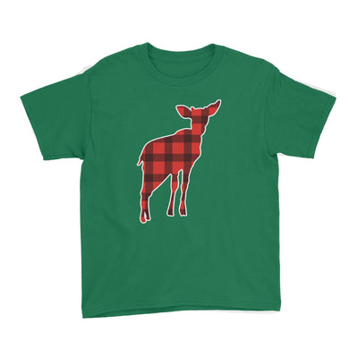 Baby Deer Silhouette Checkered Pattern Kid's T-Shirt Christmas Matching Family Animal