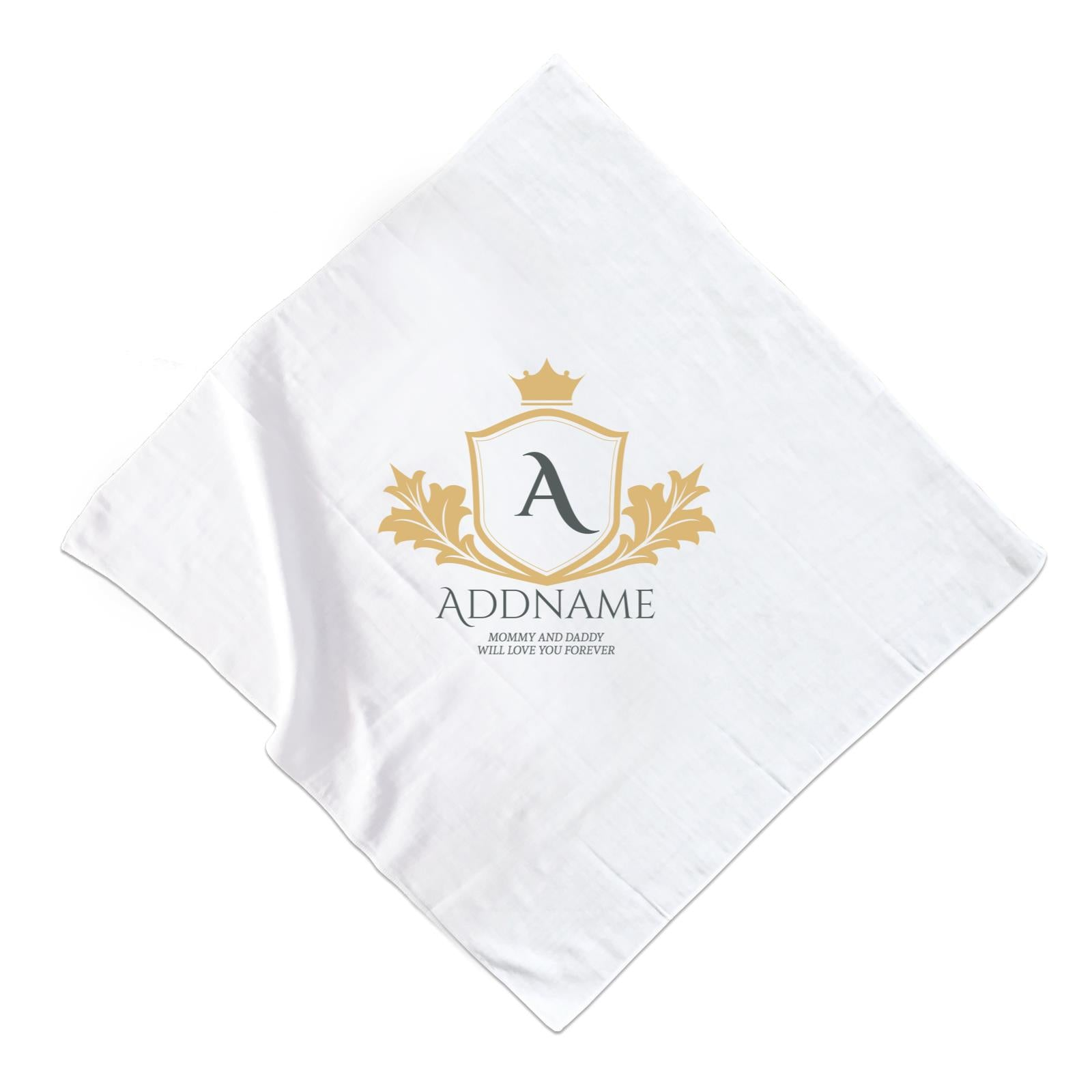 Royal Emblem Logo with Crown Personalizable with Initial Name and Text Muslin Square
