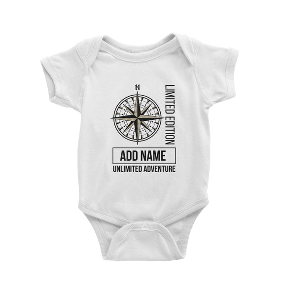 Limited Edition Compass Unlimited Adventure Personalizable with Name Baby Romper