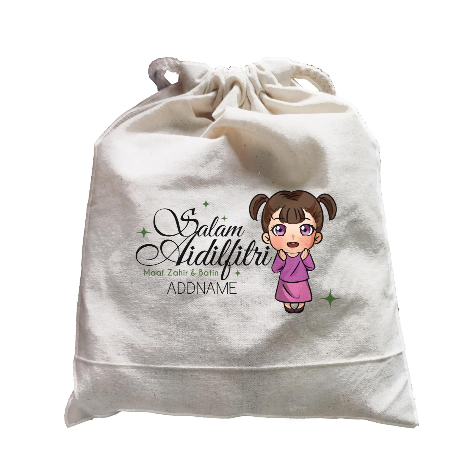 Raya Chibi Wishes Little Girl Addname Wishes Everyone Salam Aidilfitri Maaf Zahir & Batin Accessories Satchel