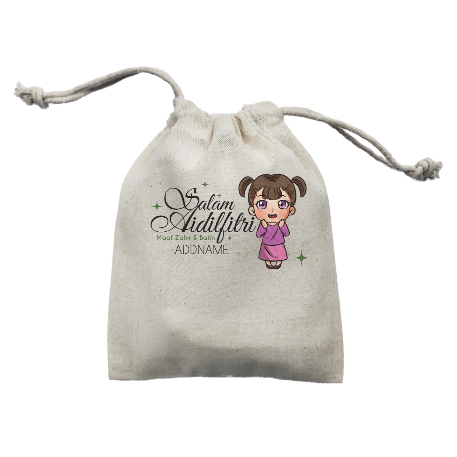 Raya Chibi Wishes Little Girl Addname Wishes Everyone Salam Aidilfitri Maaf Zahir & Batin Mini Accessories Mini Pouch