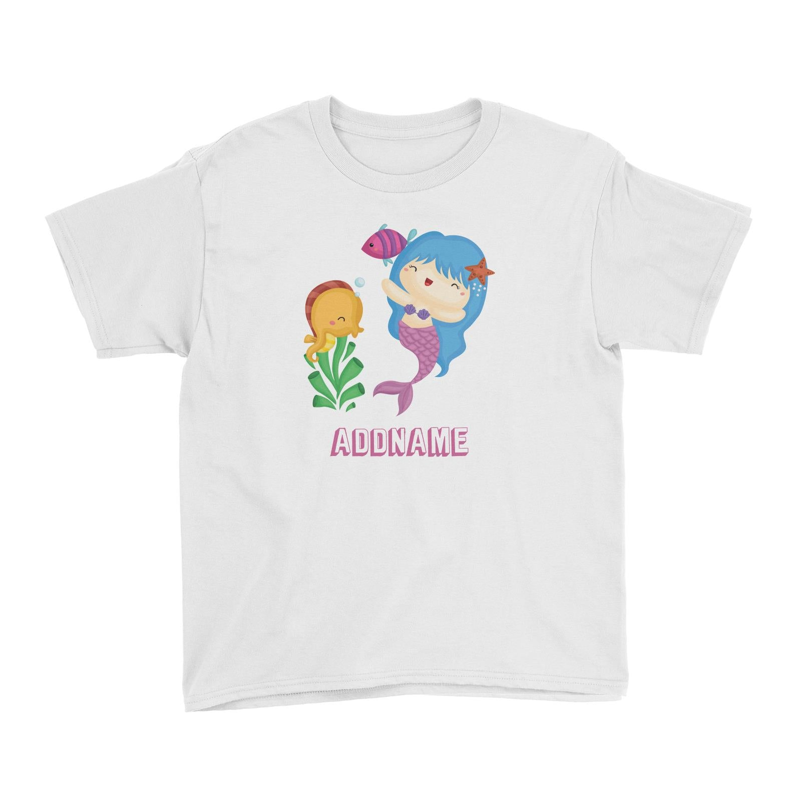 Birthday Mermaid Blue Hair Mermaid Playing With Seahorse Addname Kid's T-Shirt