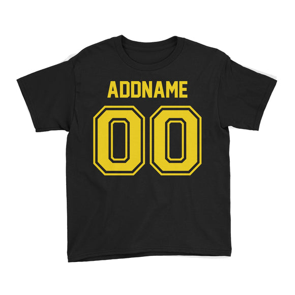 Custom Jersey Yellow Font With Name and Number Kid's T-Shirt