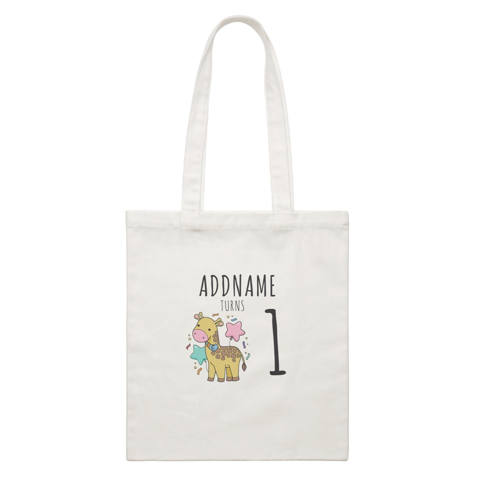Birthday Sketch Animals Giraffe with Party Horn Addname Turns 1 White Canvas Bag