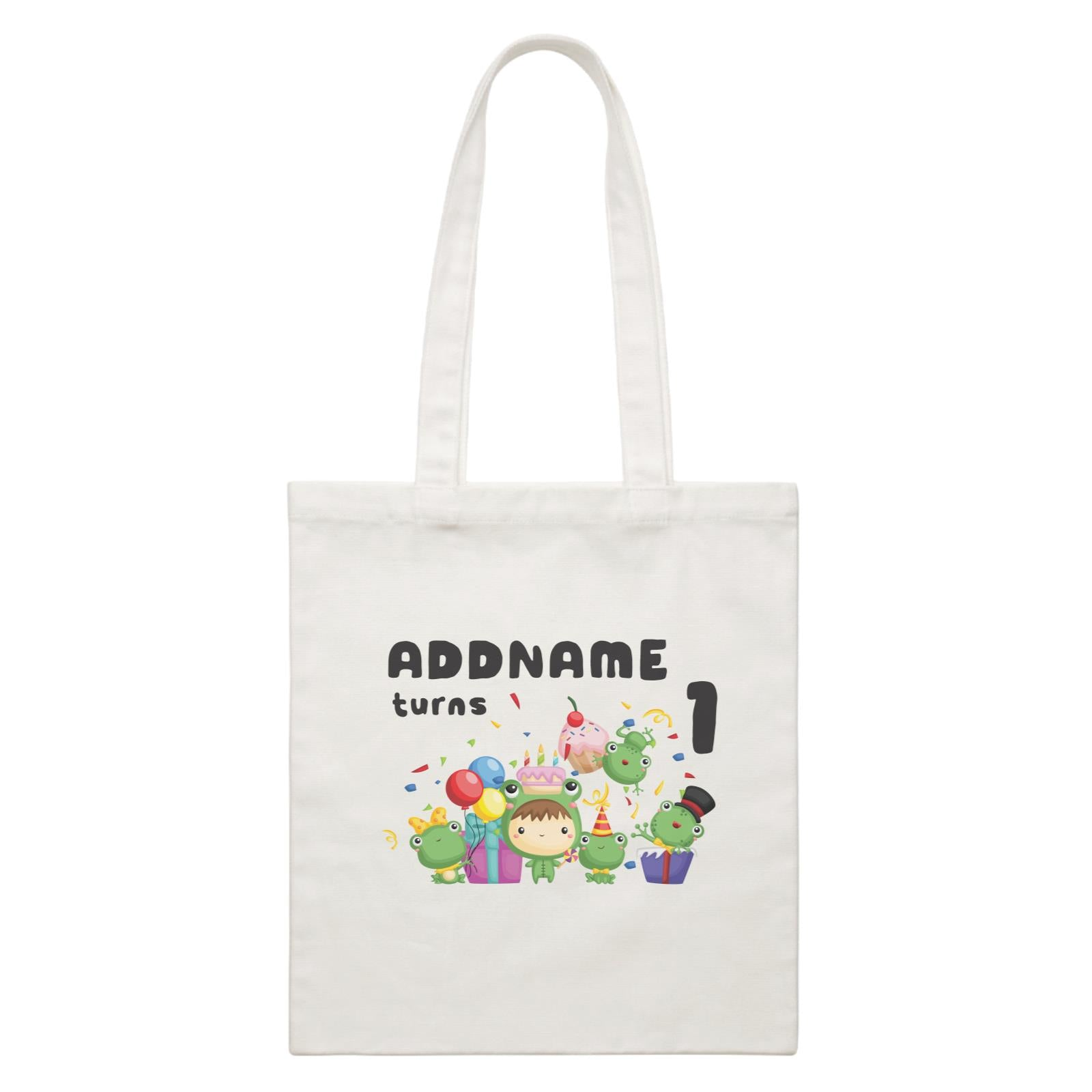 Birthday Frog Happy Frog Group Addname Turns 1 White Canvas Bag