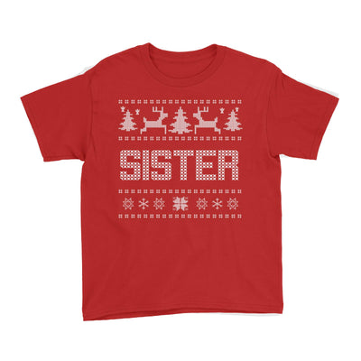Christmas Sweater Sister Kid's T-Shirt  Matching Family