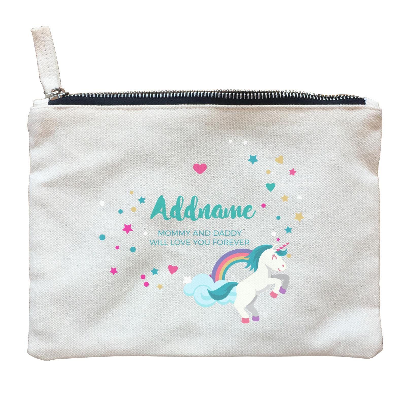 Blue Unicorn with Colourful Love and Start Elements Personalizable with Name and Text Zipper Pouch