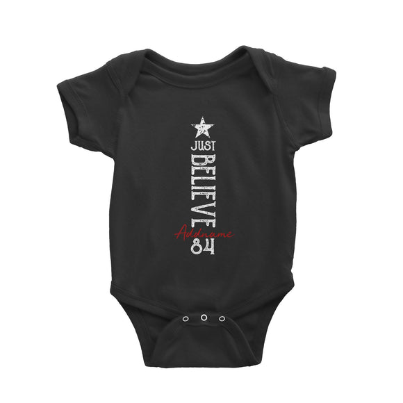 Just Believe Personalizable with Name and Number Baby Romper