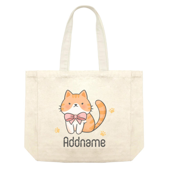 Cute Hand Drawn Style Brown Cat with Ribbon Addname Shopping Bag