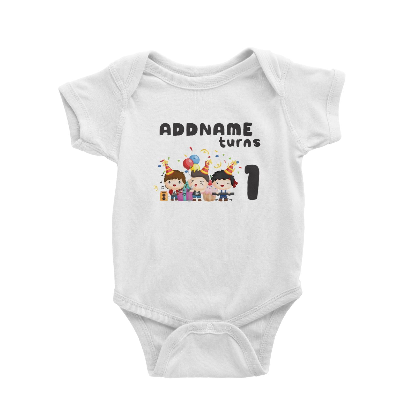 Birthday Music Band Boy Group Addname Turns 1 Baby Romper
