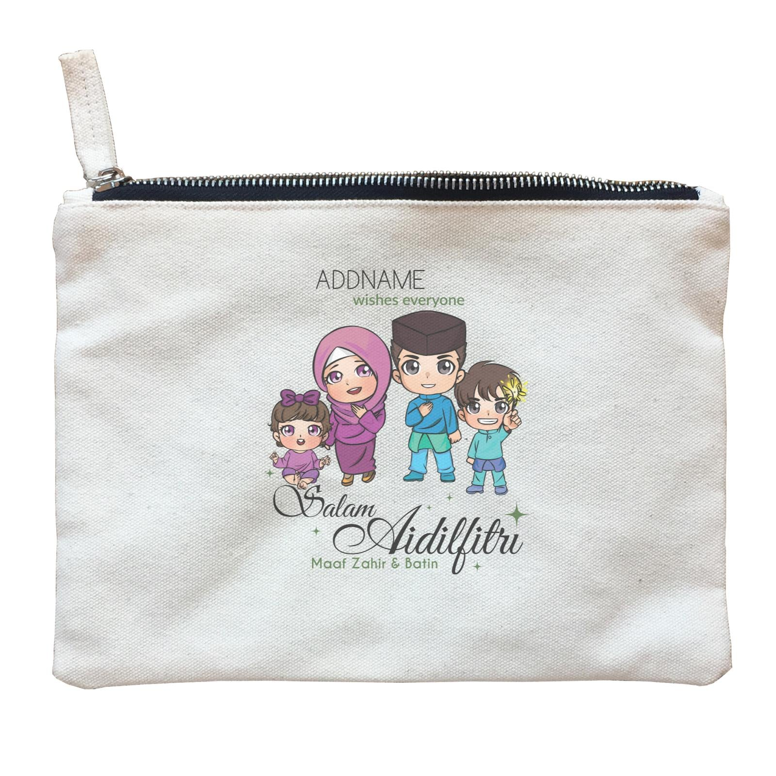 Raya Chibi Family Boy And Baby Girl Addname Wishes Everyone Salam Aidilfitri Maaf Zahir & Batin Zipper Pouch