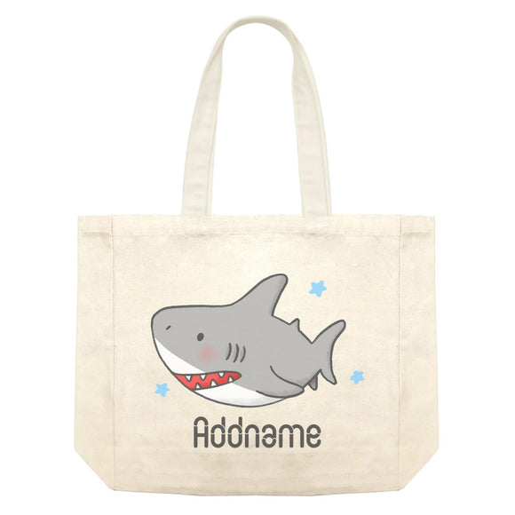 Cute Hand Drawn Style Shark Addname Shopping Bag