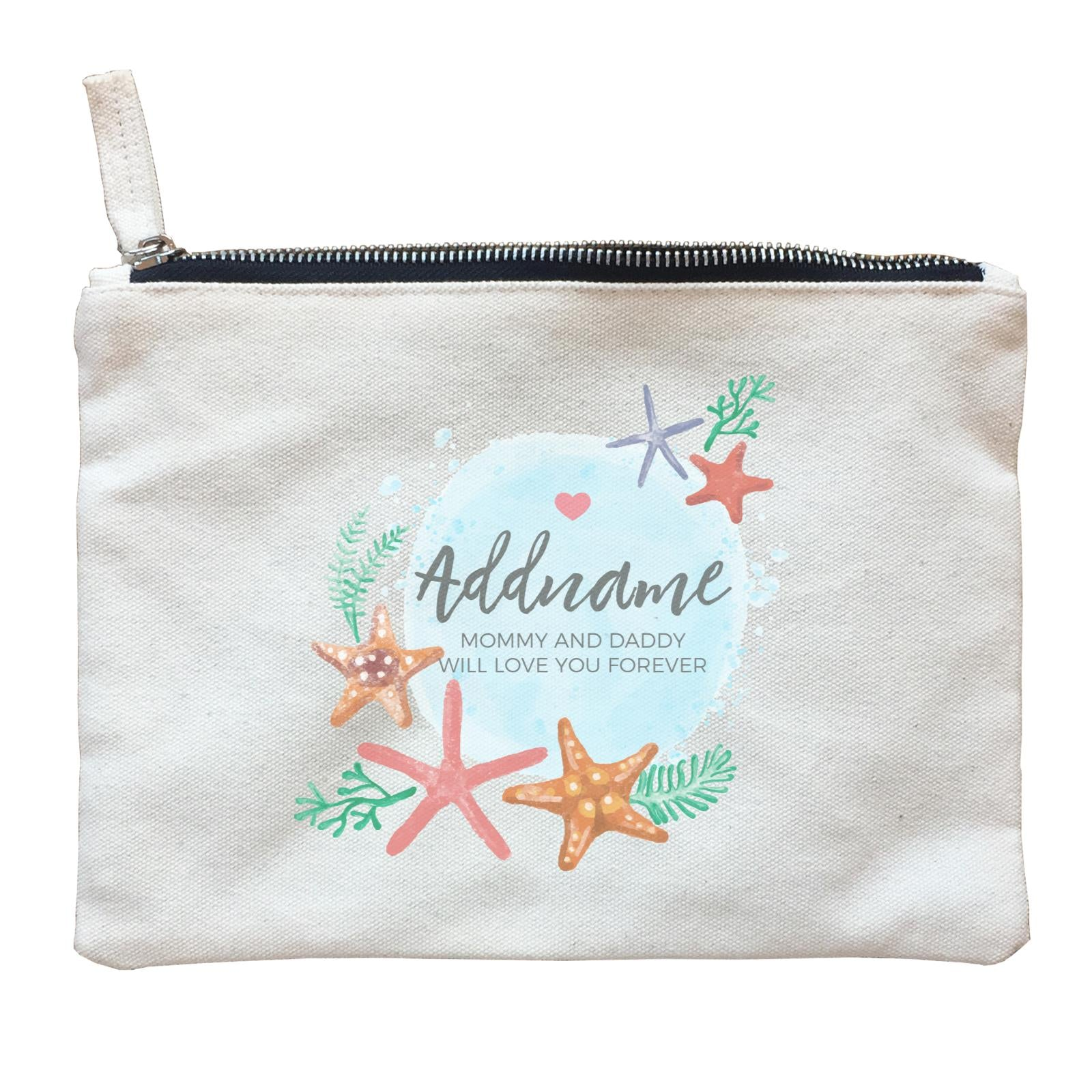 Watercolour Starfish and Coral Elements Personalizable with Name and Text Zipper Pouch