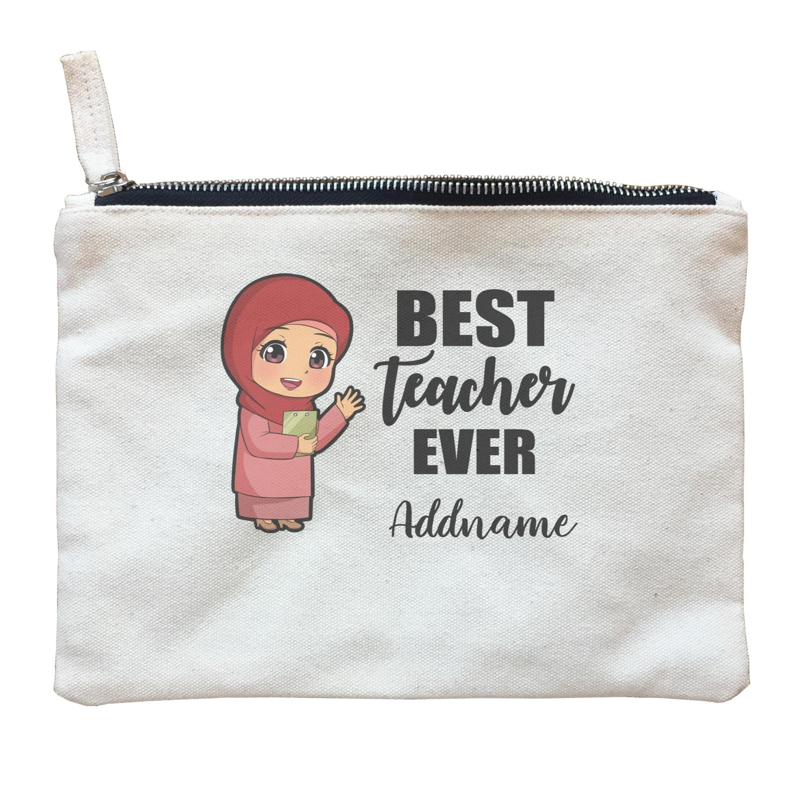 Chibi Teachers Malay Woman Best Teacher Ever Addname Zipper Pouch
