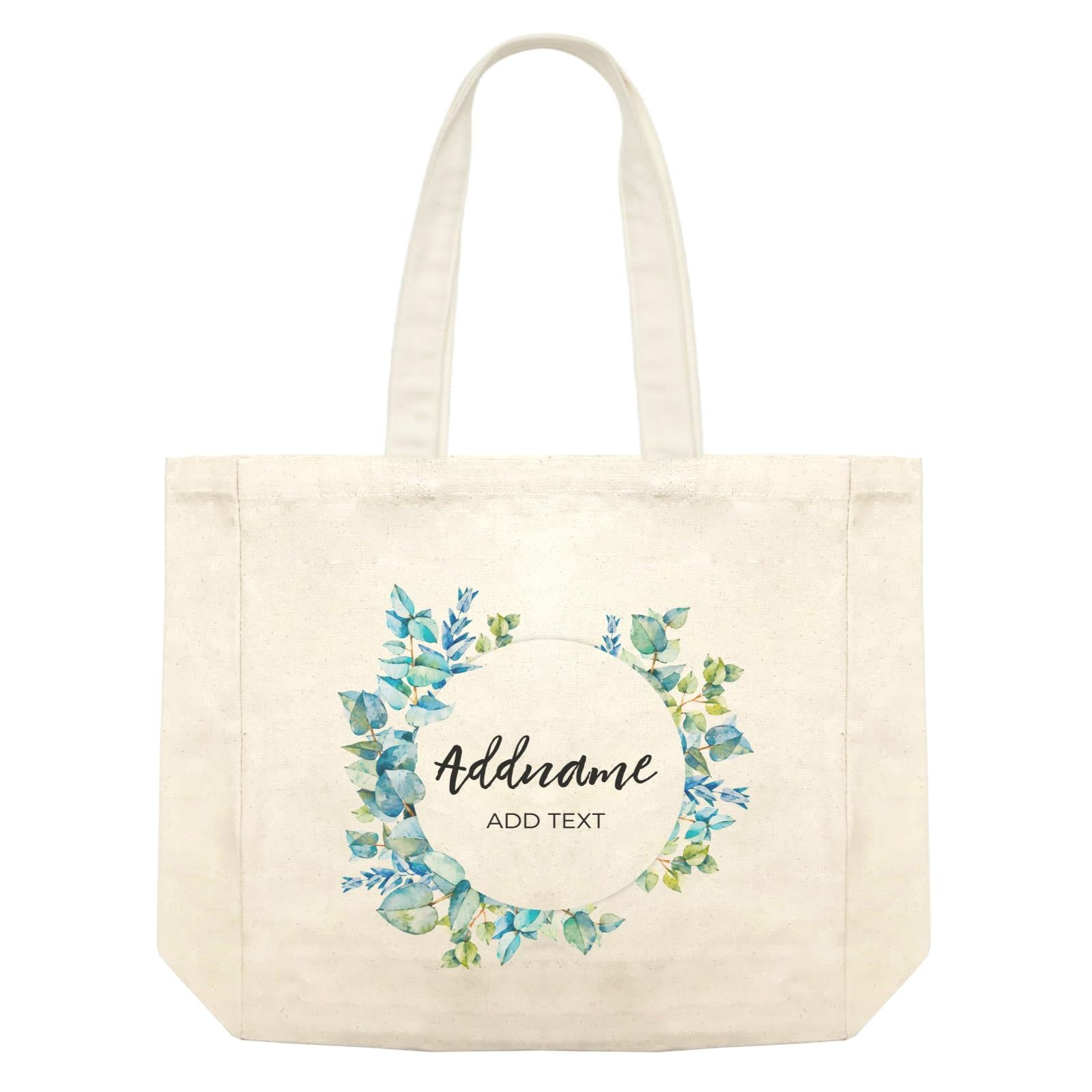 Add Your Own Text Teacher Blue Leaves Wreath Addname And Add Text Shopping Bag