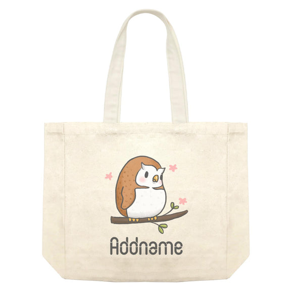 Cute Hand Drawn Style Owl Addname Shopping Bag