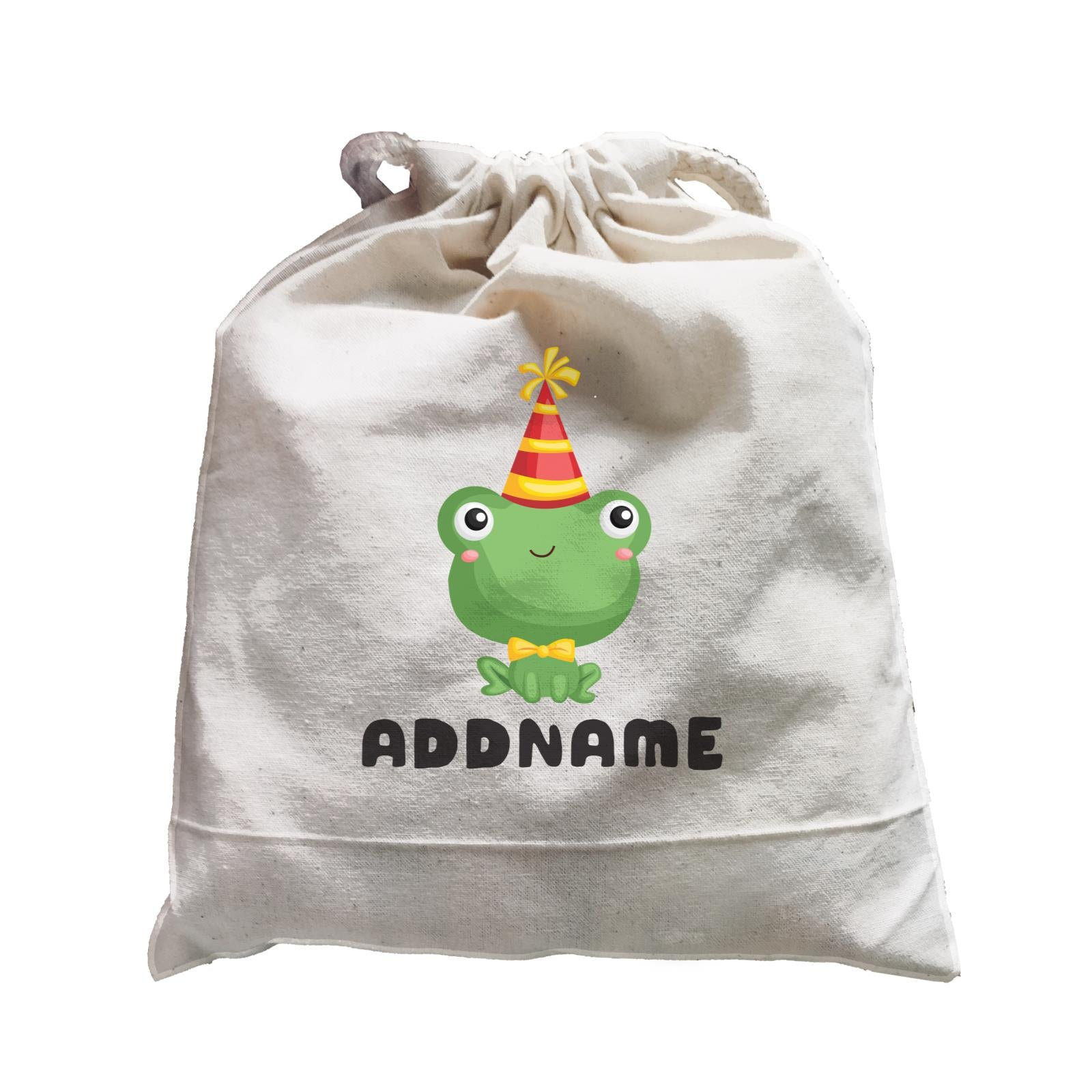 Birthday Frog Frog Wearing Party Hat Addname Satchel