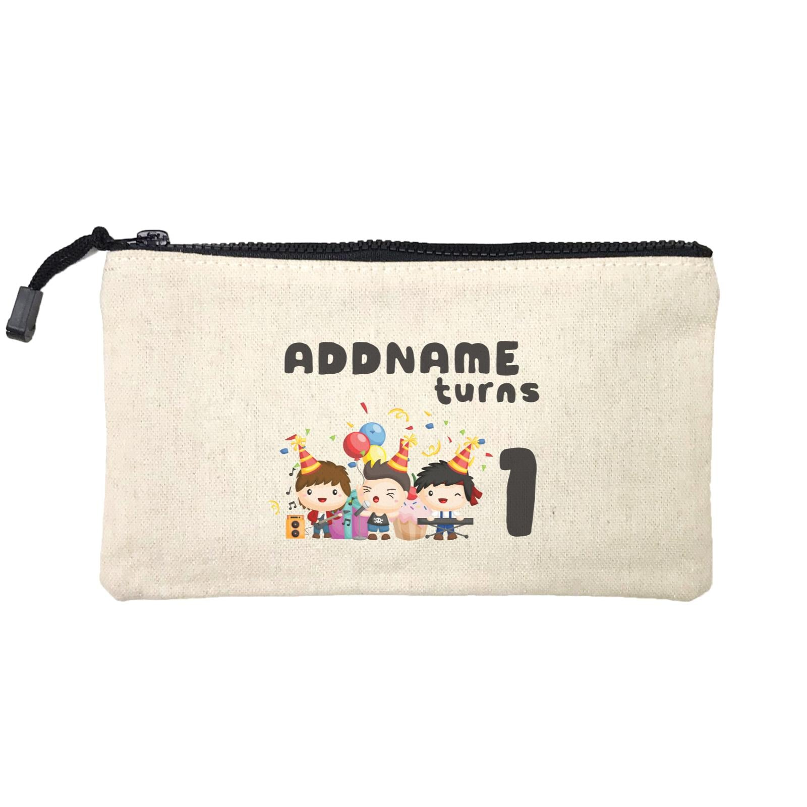 Birthday Music Band Boy Group Addname Turns 1 Mini Accessories Stationery Pouch