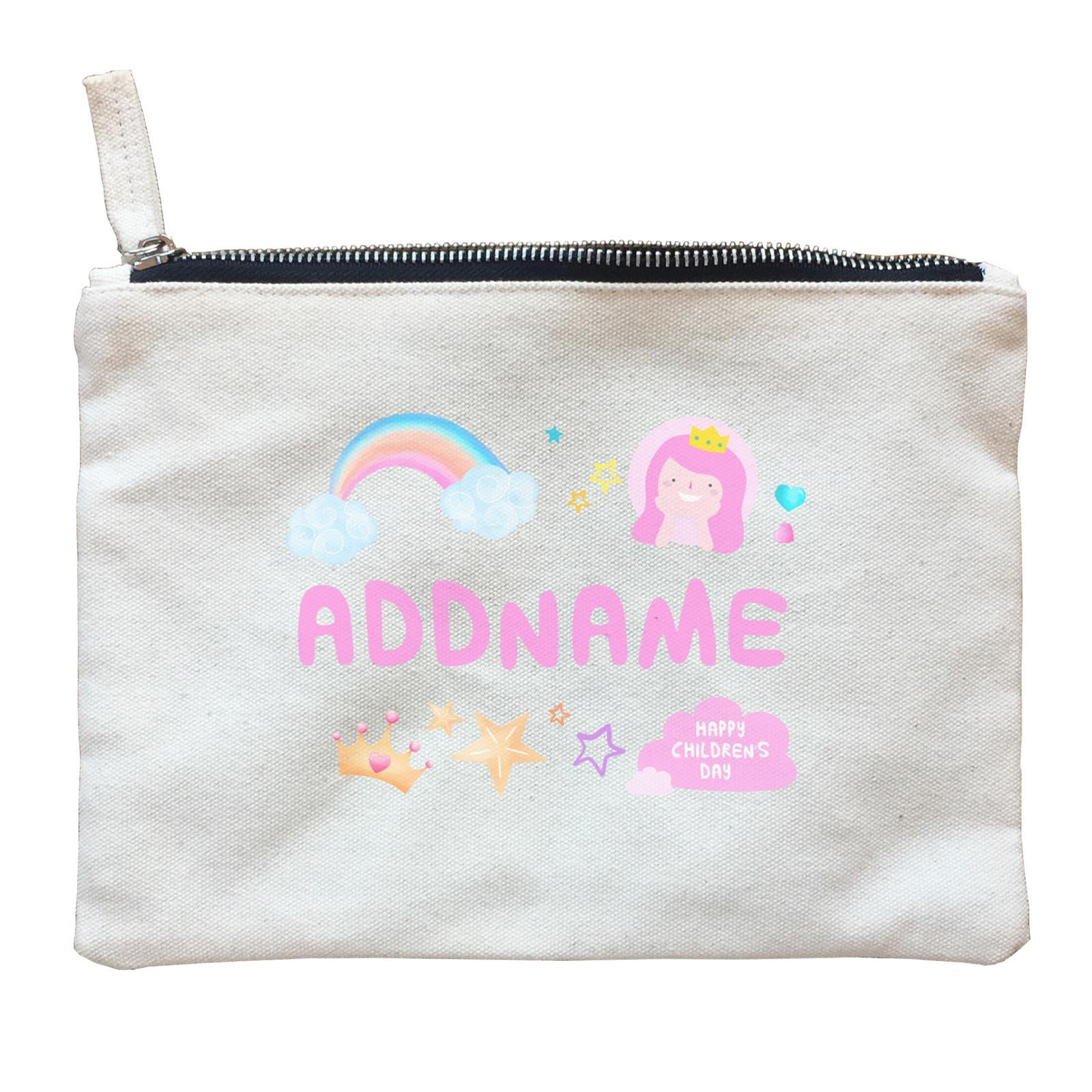 Children's Day Gift Series Cute Pink Girl Princess Rainbow Addname  Zipper Pouch