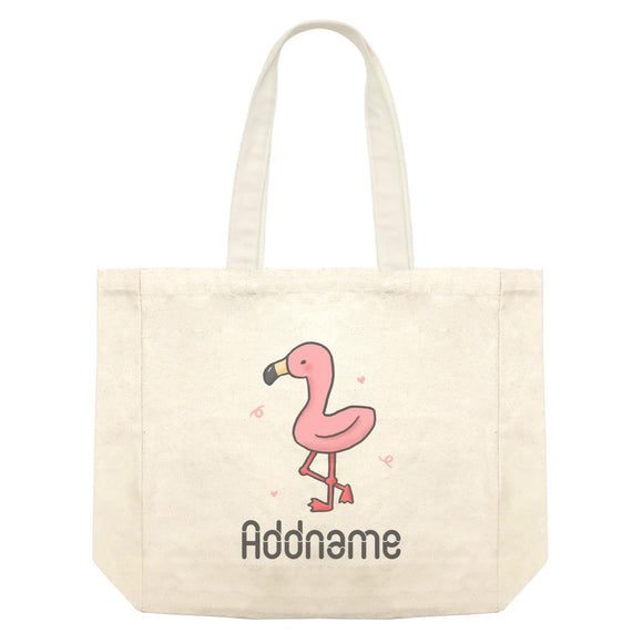 Cute Hand Drawn Style Flamingo Addname Shopping Bag