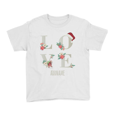LOVE with Christmas Elements Addname Kid's T-Shirt  Matching Family Personalizable Designs
