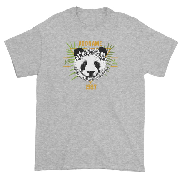 Jersey Panda With Flower Personalizable with Name and Year Unisex T-Shirt