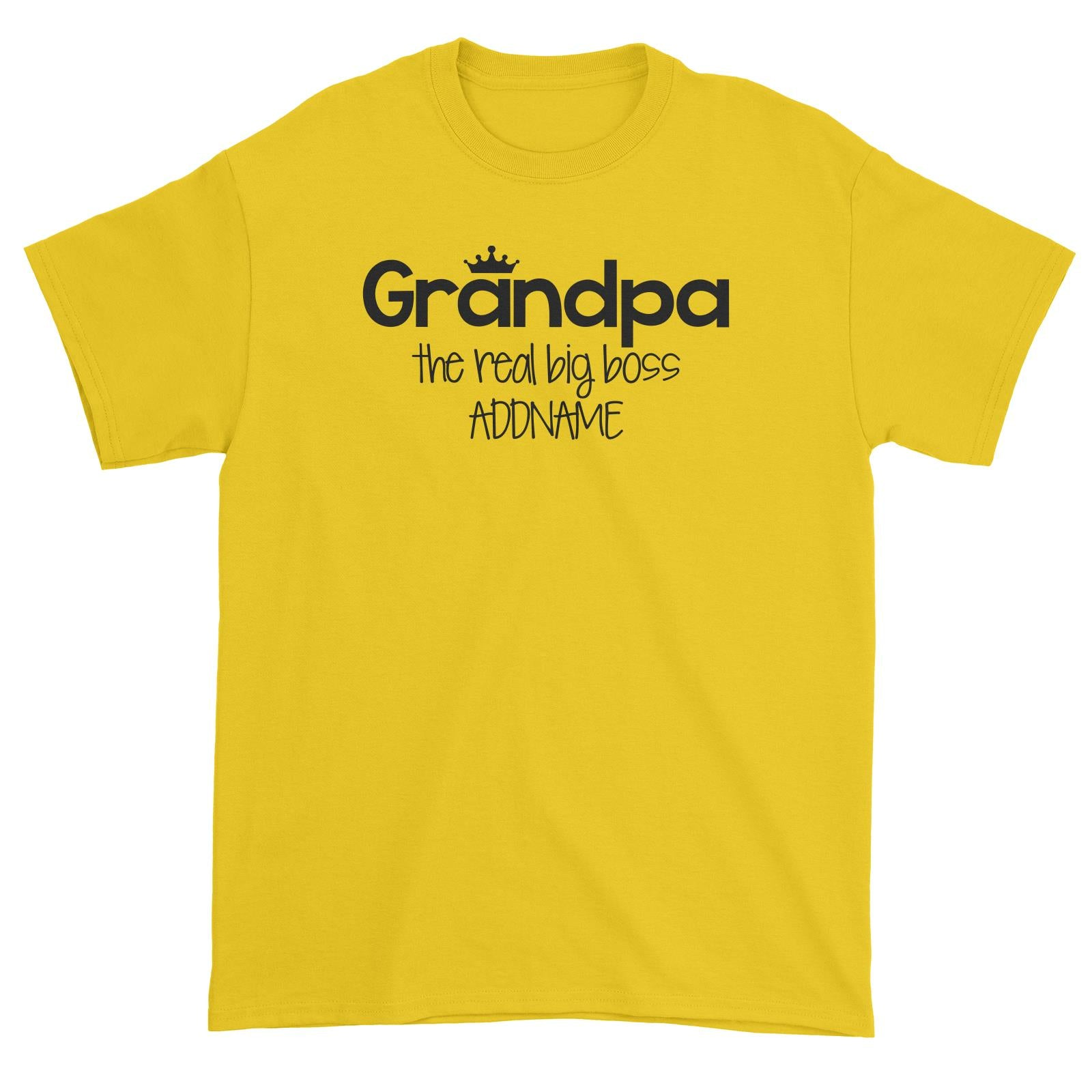 Grandpa with Crown The Real Big Boss Unisex T-Shirt