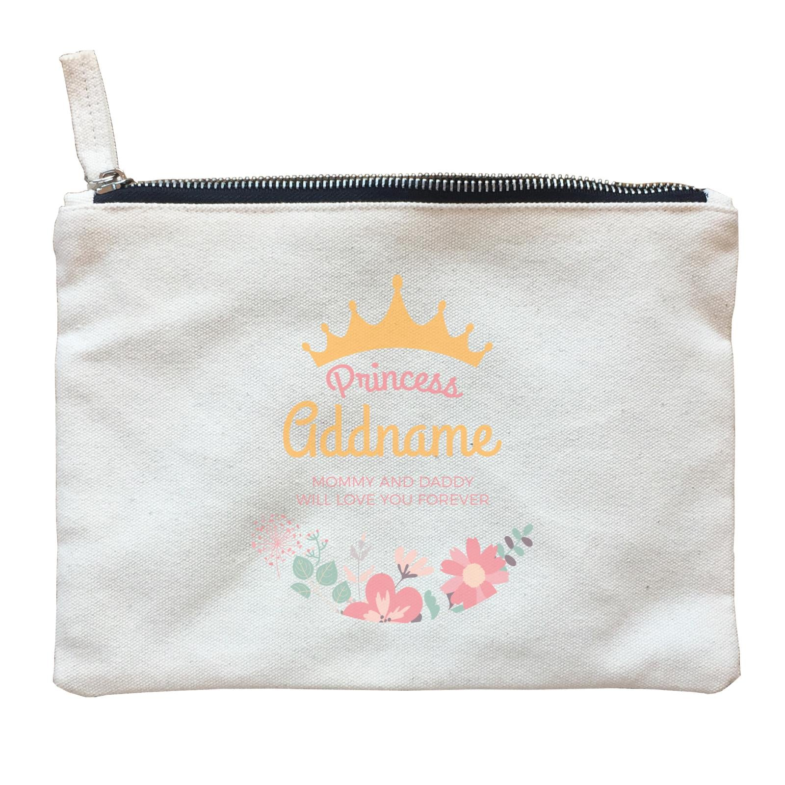 Princess with Tiara and Flowers 2 Personalizable with Name and Text Zipper Pouch