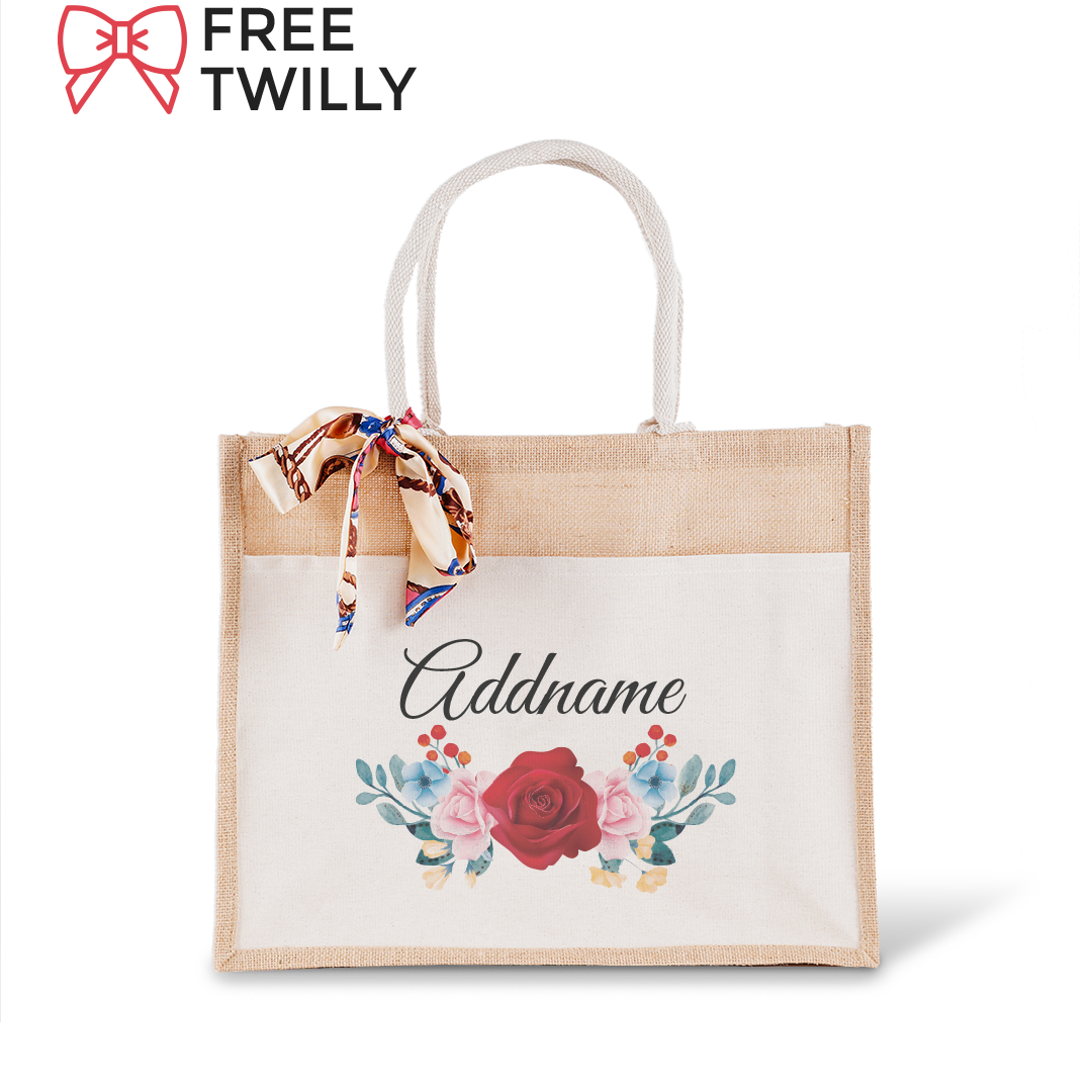 Colorful Rose Jute Bag with Front Pocket