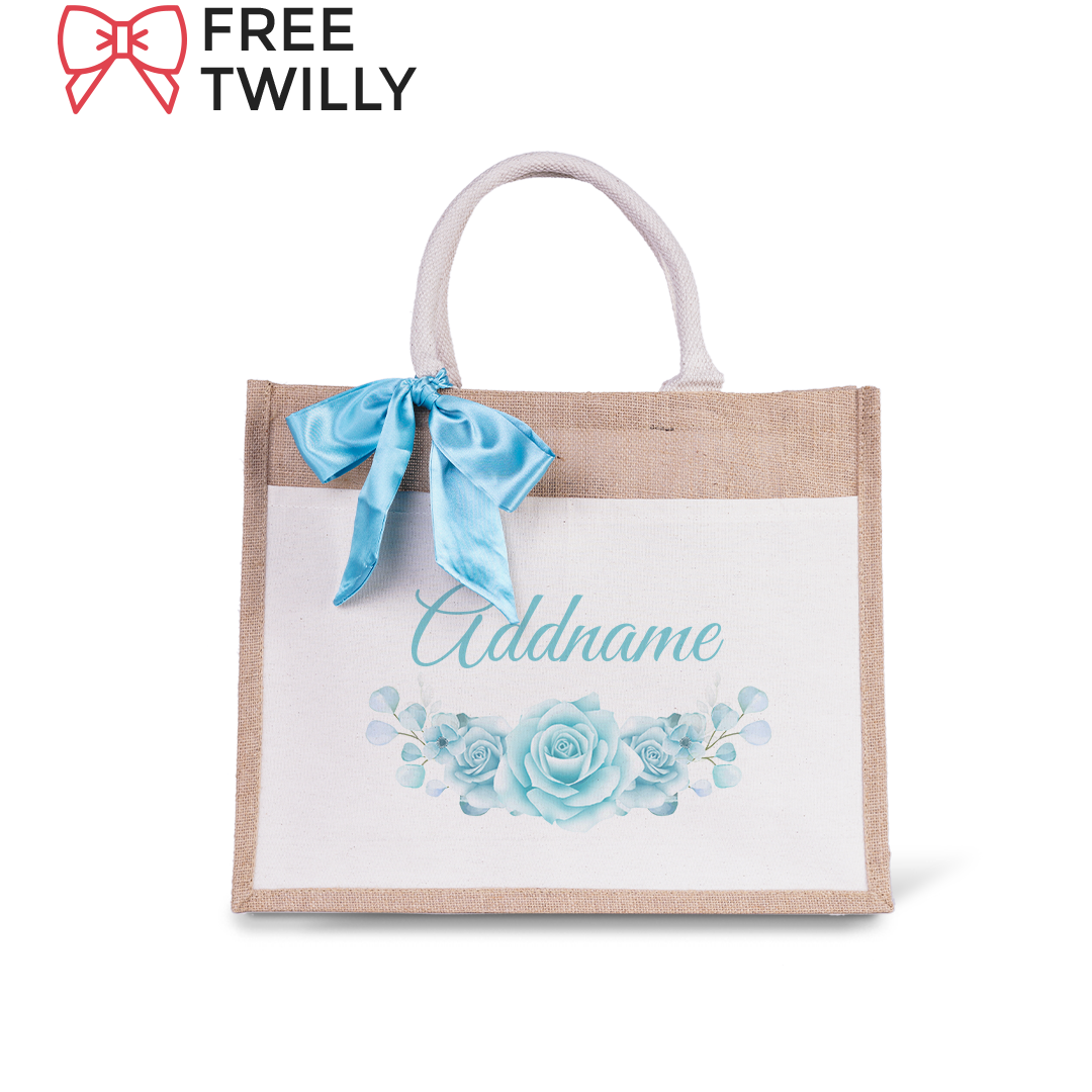 Turquoise Rose Jute Bag with Front Pocket