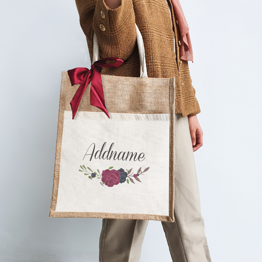 Rose Series Colourful Jute Bag with Front Pocket