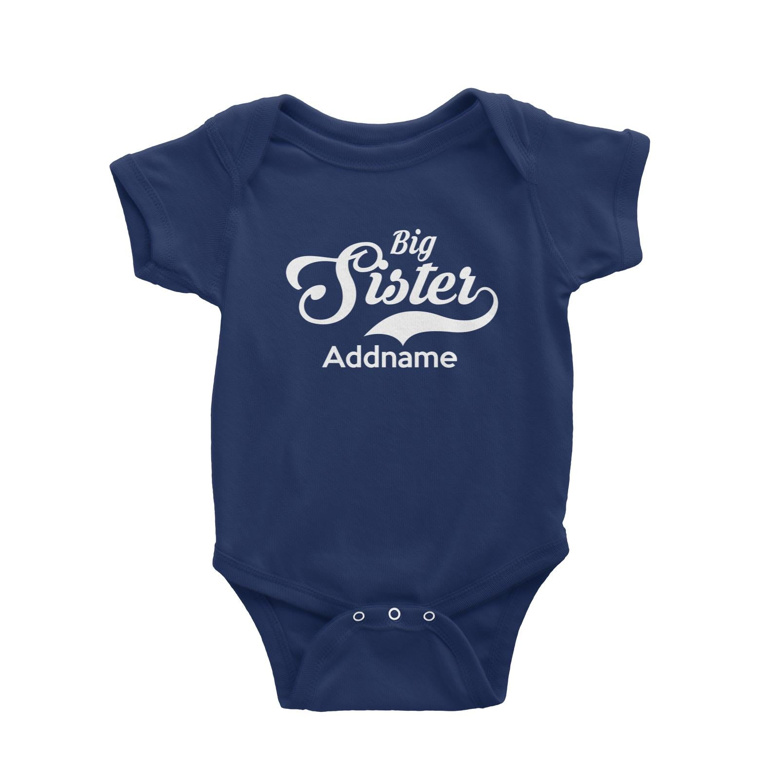 Retro Big Sister Addname Baby Romper  Matching Family Personalizable Designs