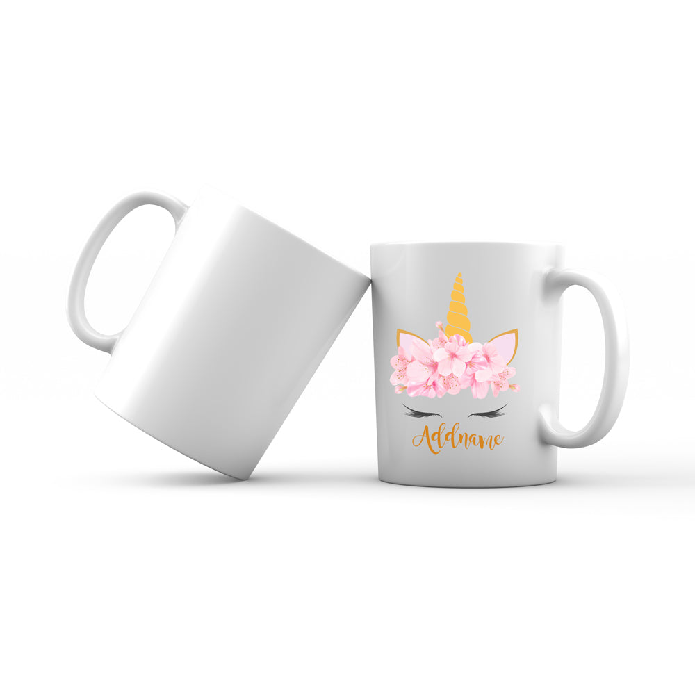 Pink Flower Garland Unicorn Face Addname Mug