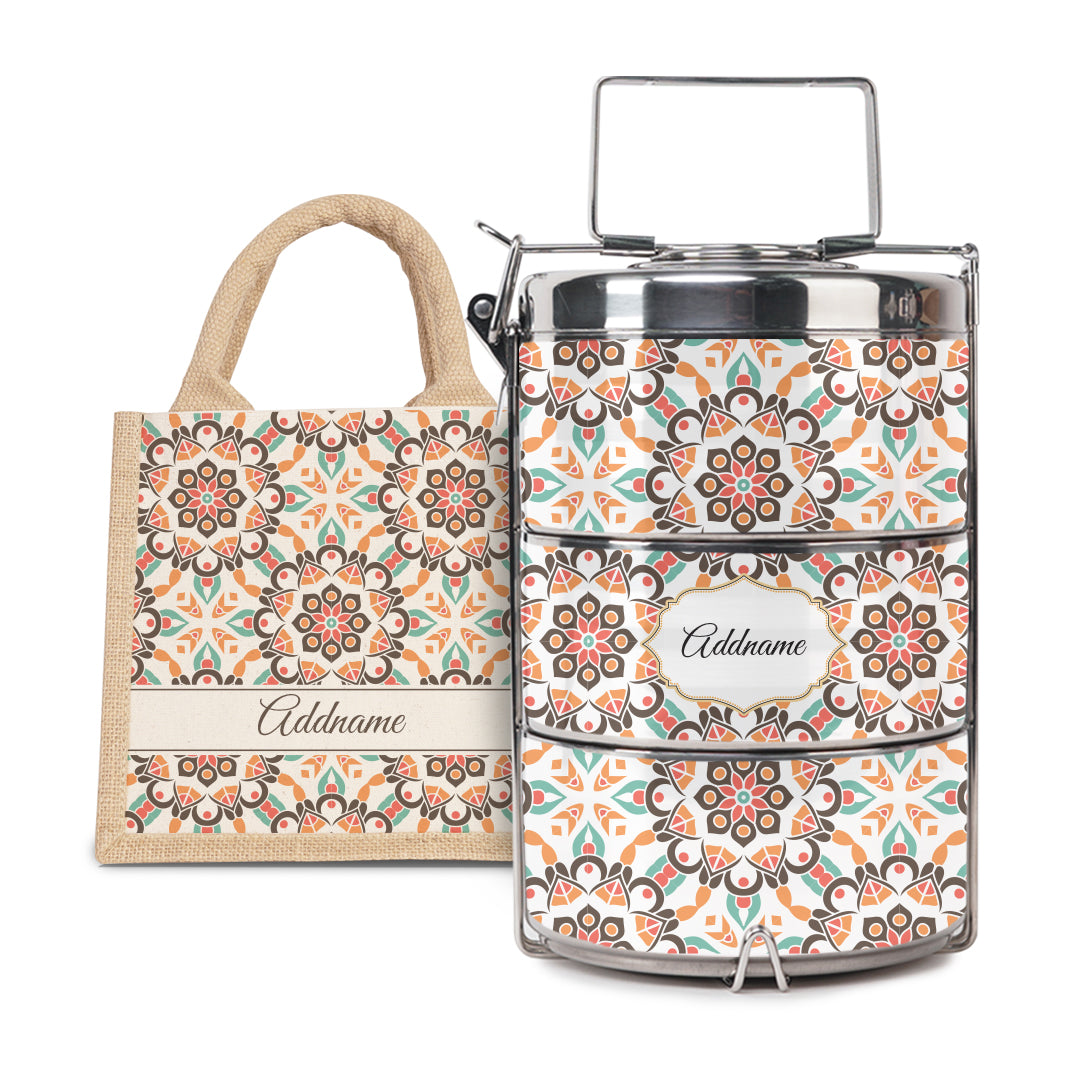 [RAYA 2021] Moroccan Series - Arabesque Geo Brown Half Lining Lunch Bag with Tiffin Carrier