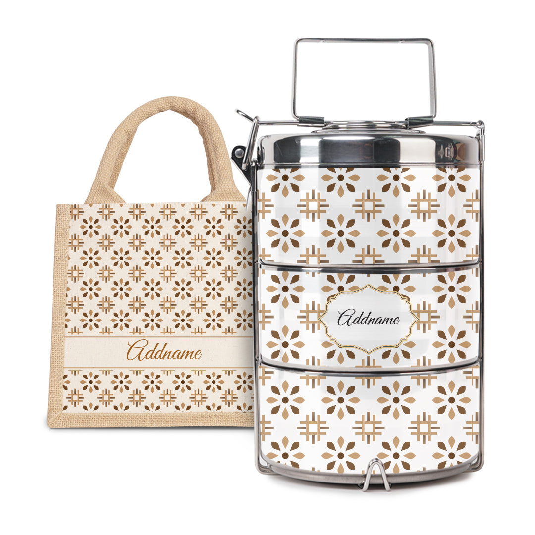 [RAYA 2021] Moroccan Series - Arabesque Tawny Brown Half Lining Lunch Bag with Tiffin Carrier