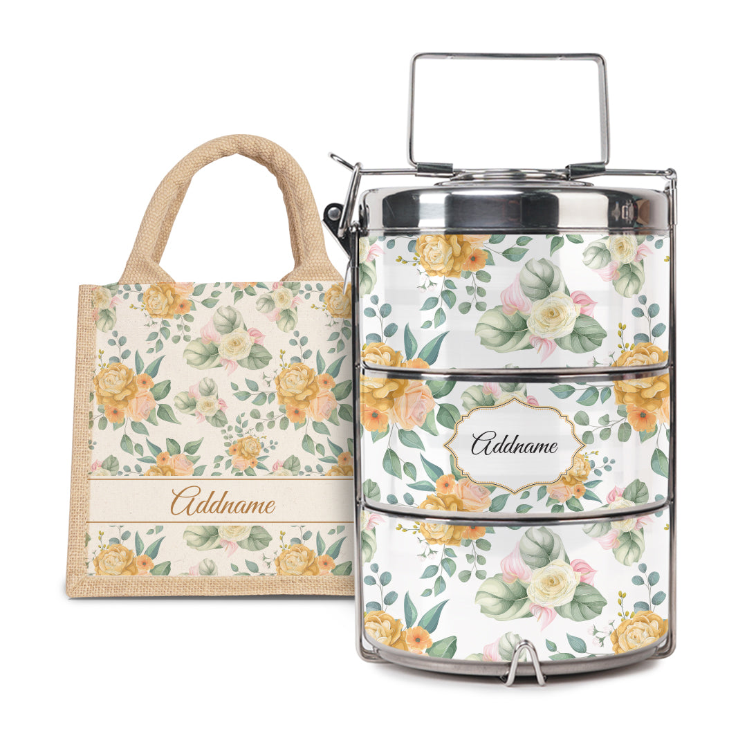[RAYA 2021] Laura Series - Honey Half Lining Lunch Bag with Tiffin Carrier