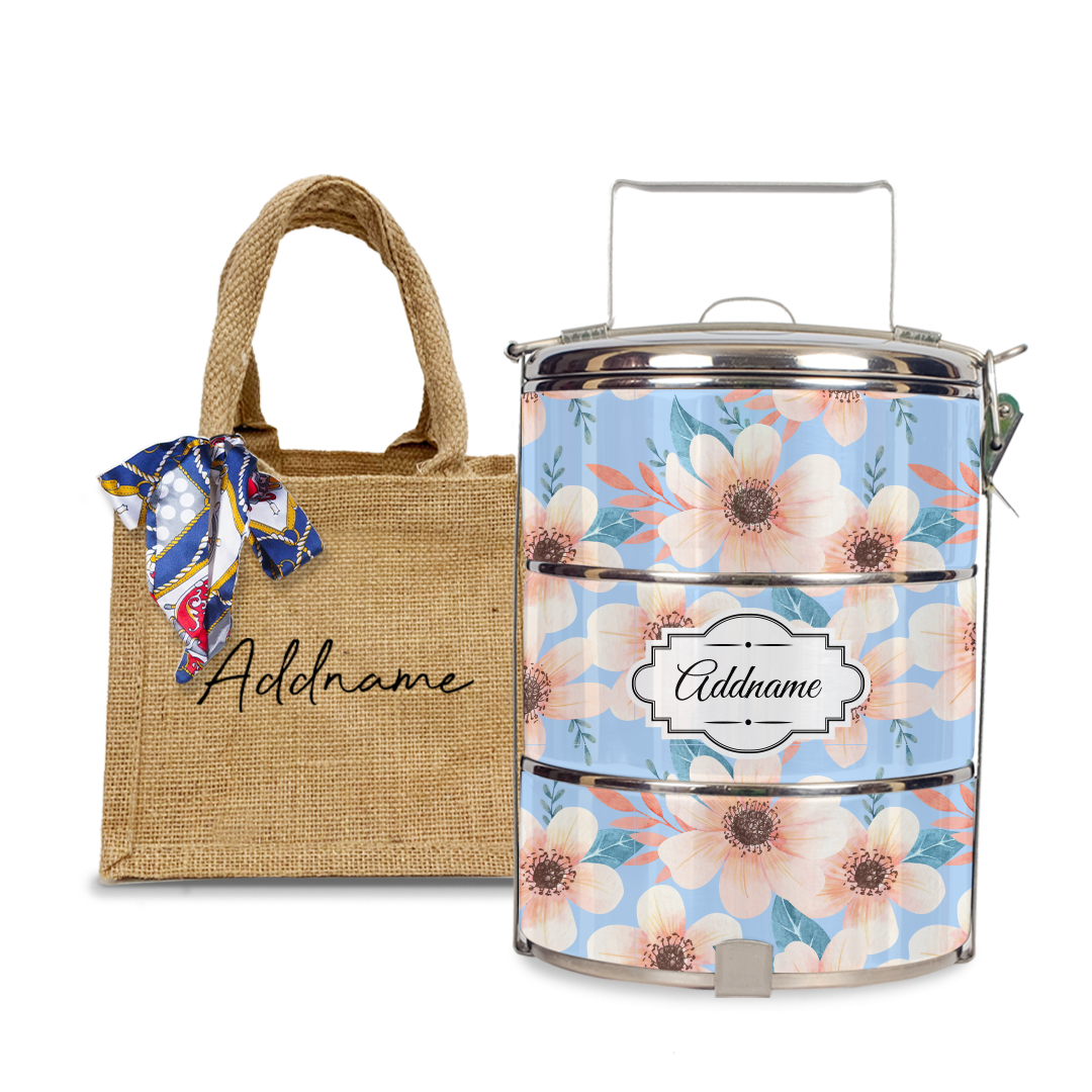 Peony Flower Tiffin Carrier Set