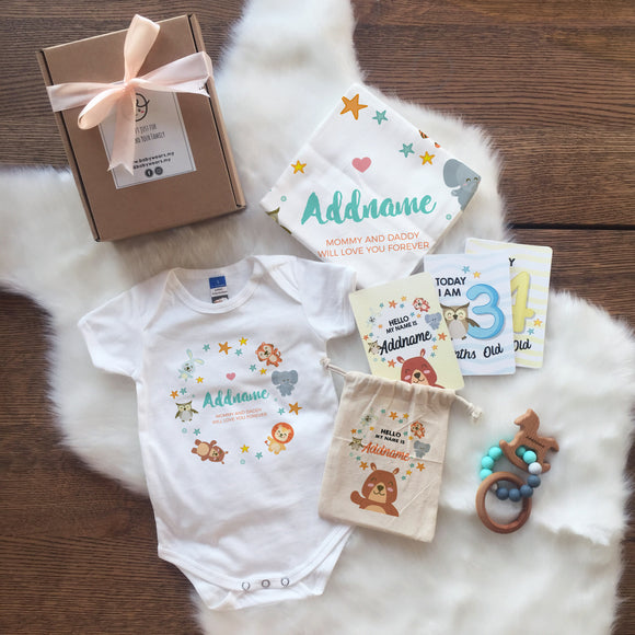 Animal Safari with Stars Newborn Gift Set with Personalised Milestone Cards and Baby Sensory Teether (UNDER RM 160)